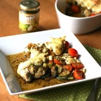 Pesto-Hühnchen gratiniert - LowCarb