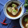 Wantan Suppe mit Koriander-Tatar