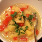 Kartoffeleintopf asiatisch mit Garnelen aus der Deli