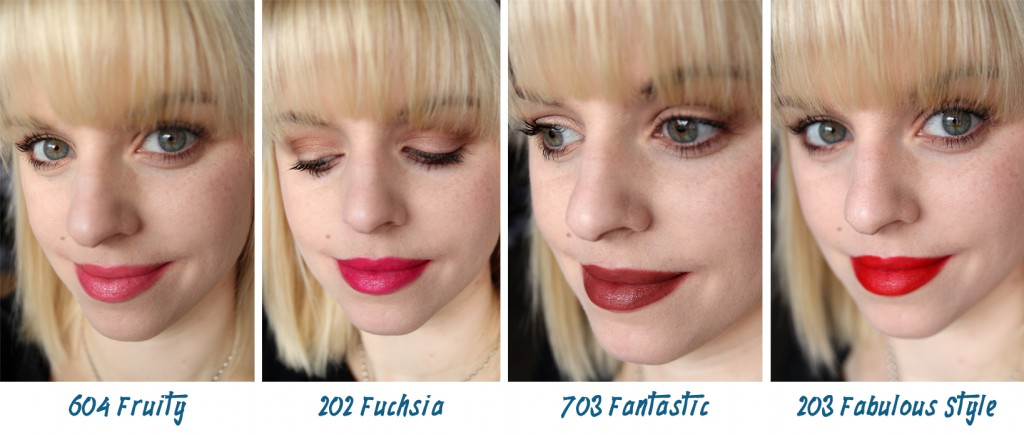 Astor Perfect Stay Fabulous Lipstick Swatches 604 Fruity, 202 Fuchsia, 703 Fantastic, 203 Fabulous Style Lippenswatches
