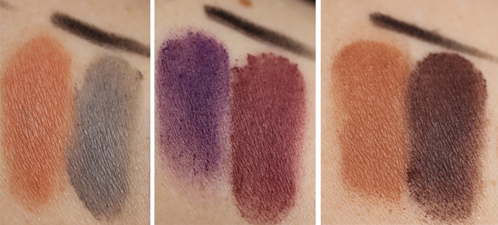 p2 Line Color Contouring Matte eye shadow Trios 010 caramel fudge 060 berry bites 020 peanut butter biscuit Swatches