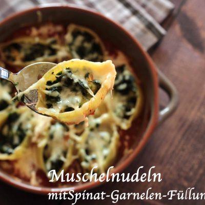 Überbackene Garnelen-Spinat-Conchiglioni in Tomaten-Minz-Sauce